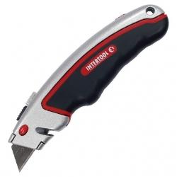 Нож с выдвижным трапециевидным лезвием, металлический корпус, прорезиненный HT-0516